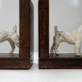 Antique Bookends, Cast Iron, Wirehaired Fox Terrier on Oak Book Shaped Bases