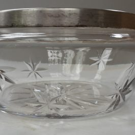 Vintage Lead Crystal Cut Glass Bowl with Silver Plated Rim