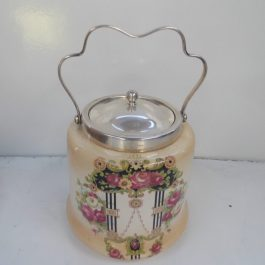 Antique Decorative Biscuit Barrel With Ceramic Base and Silver Plated Lid and Handle