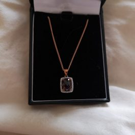 Diamond and Garnet, Rose Gold Necklace and Ring Set