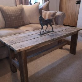 Rustic table/bench made from reclaimed wood