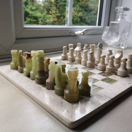 Rustic onyx and marble chess set