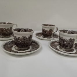 Small brown cup & saucer set of four by ADAMS, English Pastoral Scene with Horses